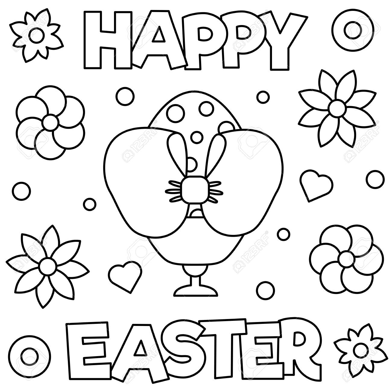 Happy Easter Coloring Page Vector Illustration Royalty Free