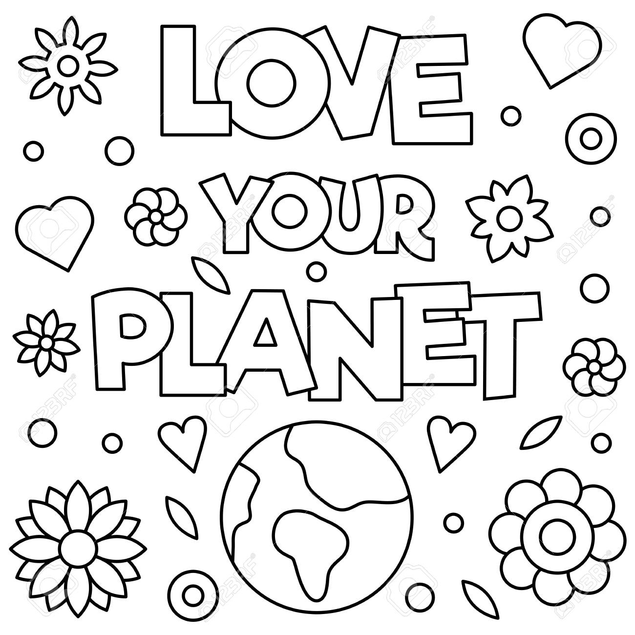 Love Your Planet Coloring Page Vector Illustration Royalty Free Cliparts Vectors And Stock Illustration Image 96068024