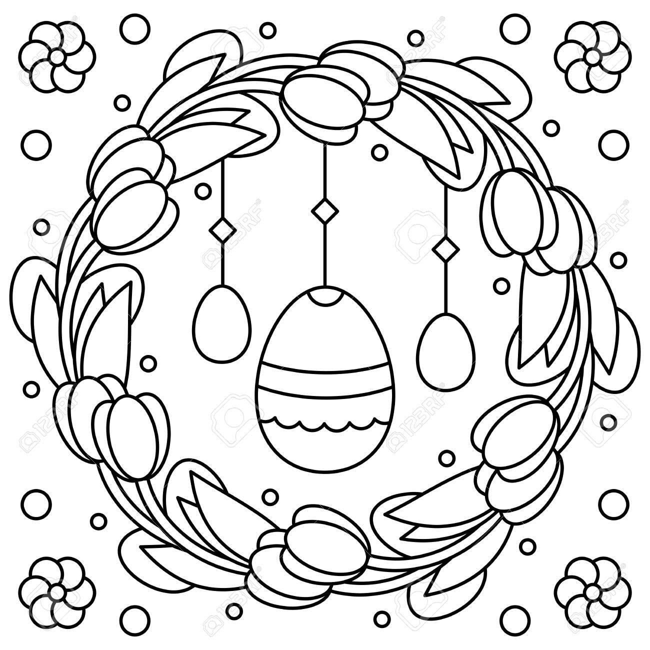 Easter Wreath Coloring Page Vector Illustration Royalty Free