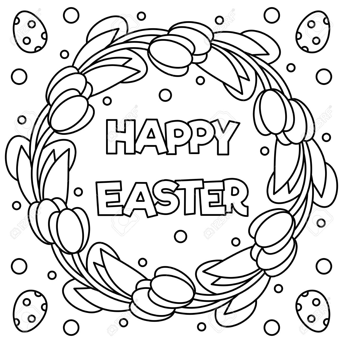 Happy Easter Coloring Page Black And White Vector Illustration