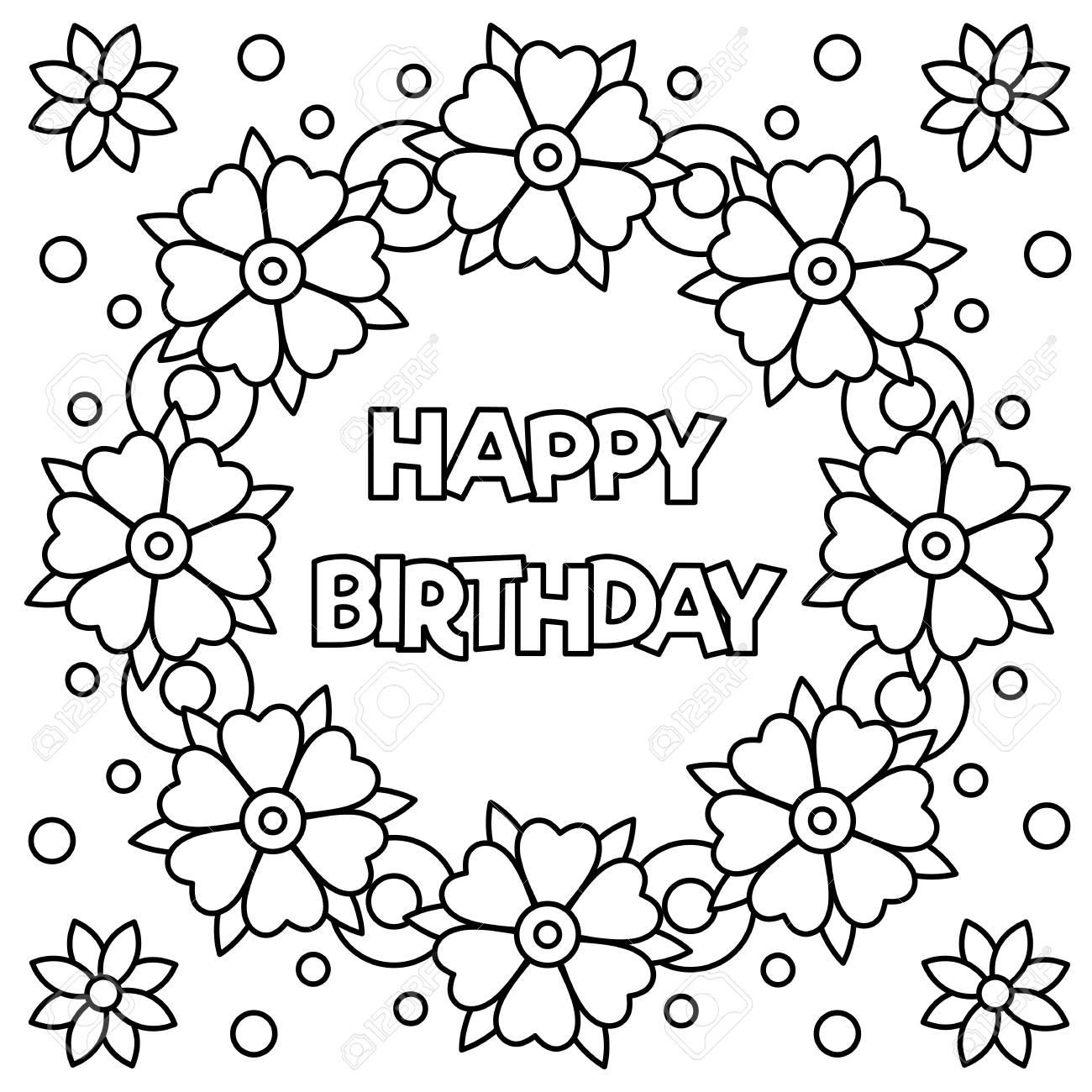 - Floral Wreath For Coloring Page With Happy Birthday. Vector