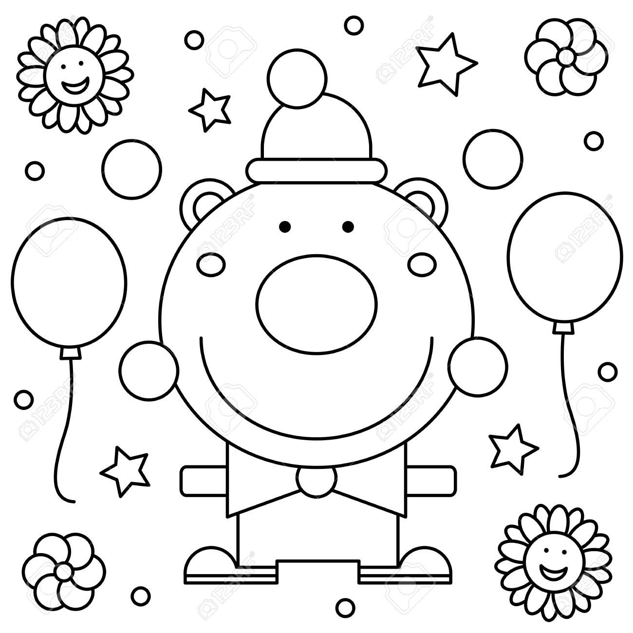 Coloring Page. Black And White Vector Illustration Of A Clown ...