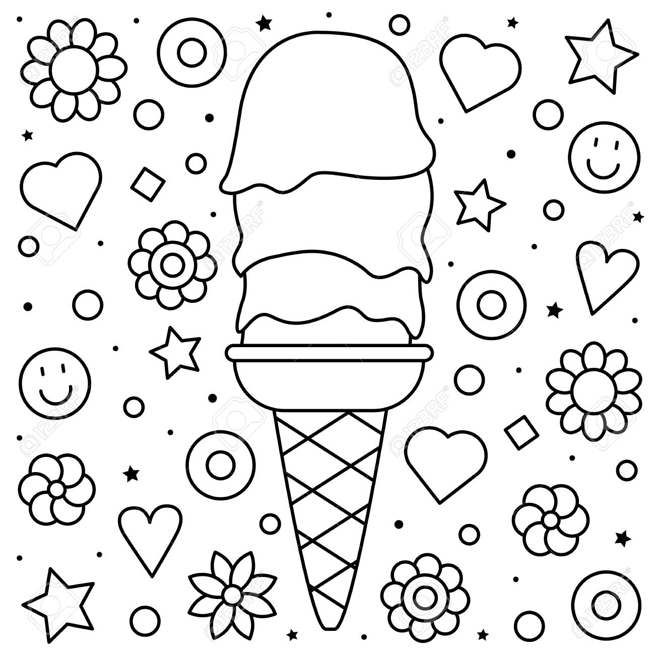 Coloring pages: Sea Ice Cream Coloring Free Printable Cone ...
