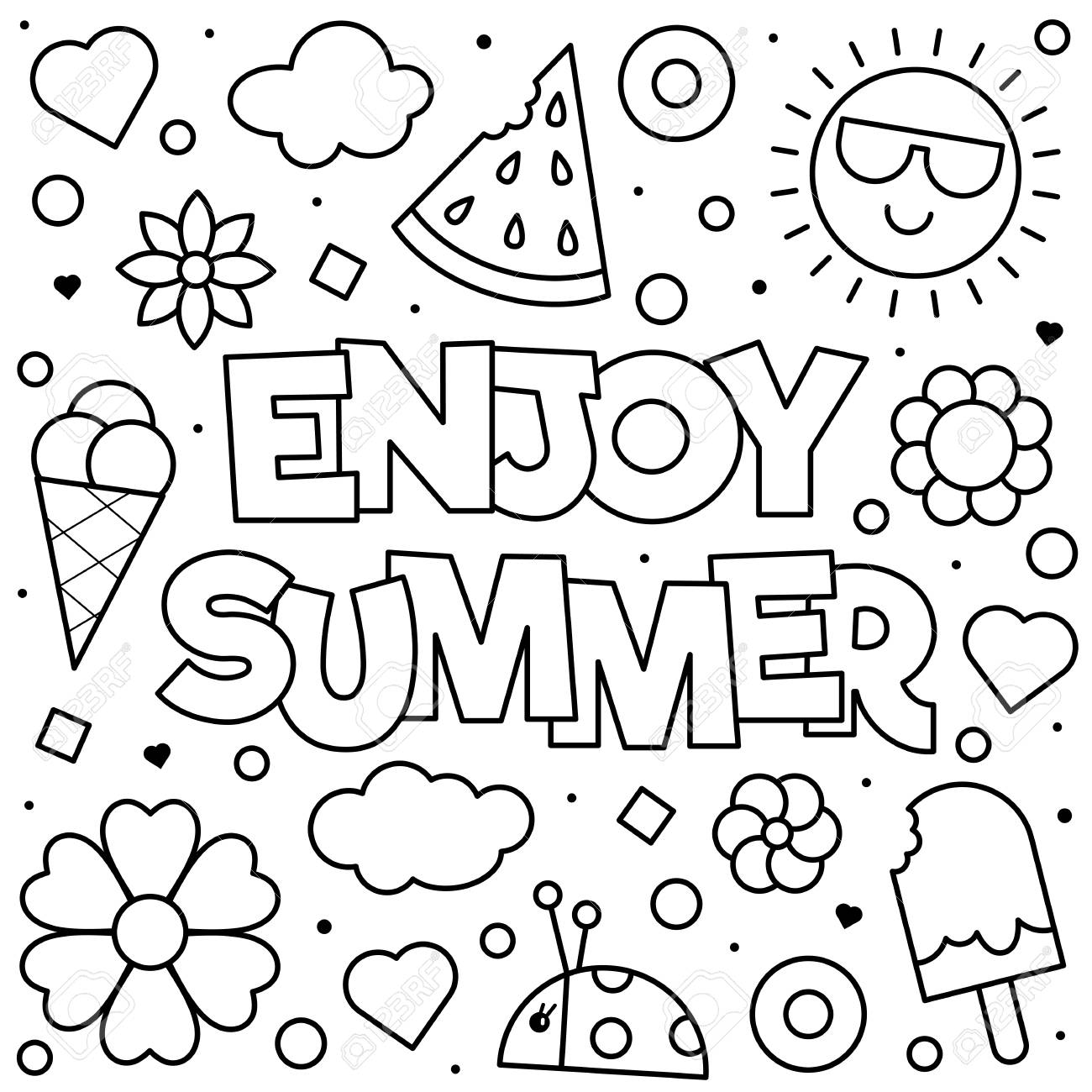 Enjoy Summer. Coloring page. Black and white vector illustration