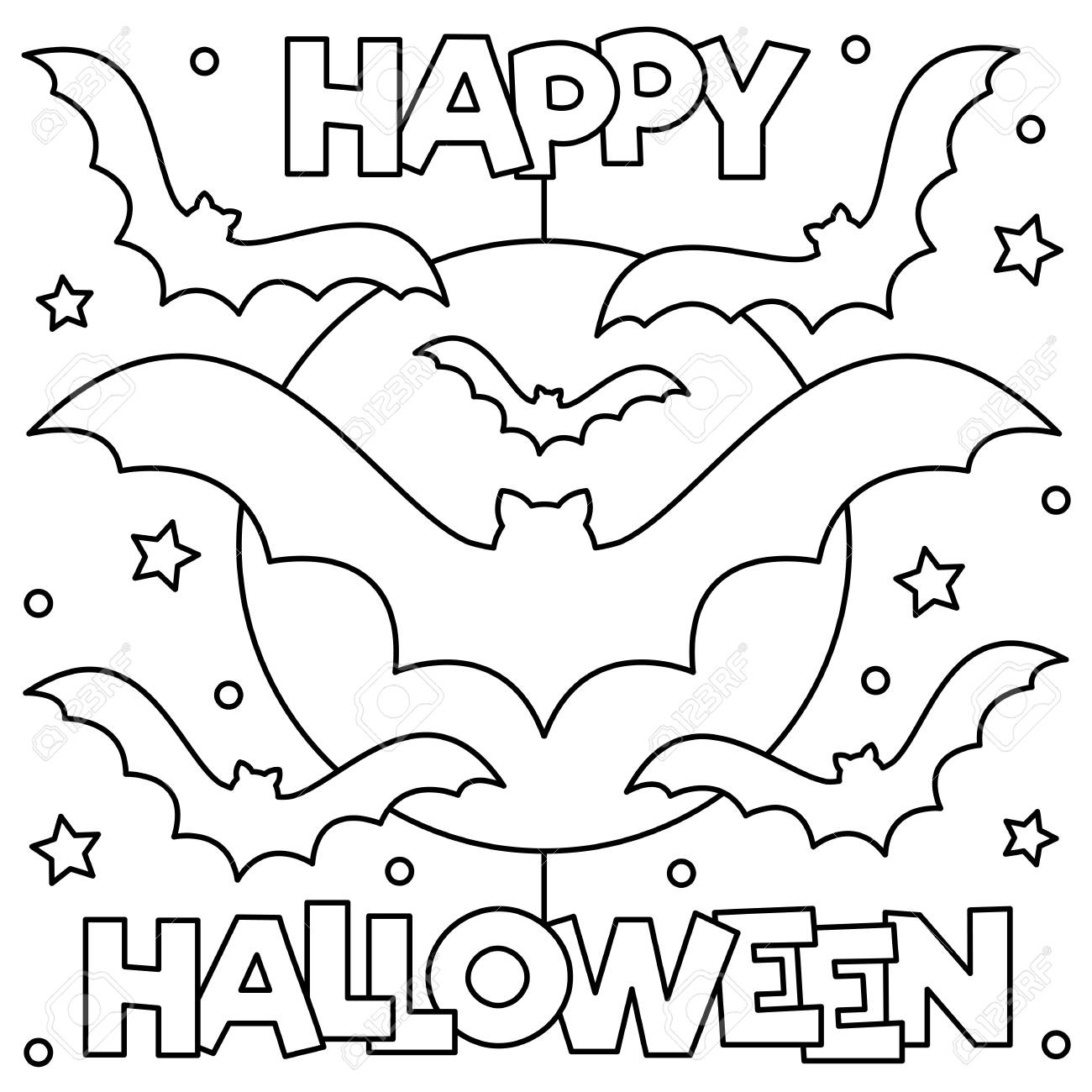 Happy Halloween. Coloring page. Black and white vector illustration - 111631549