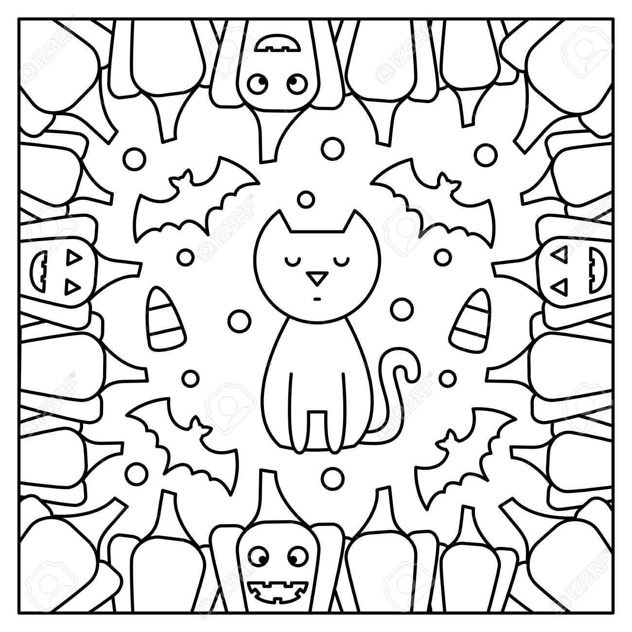Cat and pumpkins. Coloring page. Black and white vector illustration