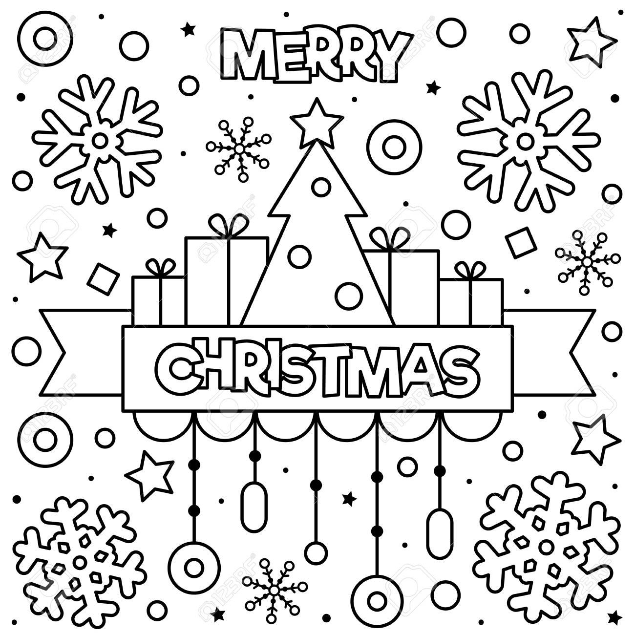 Feliz Navidad Dibujo Para Colorear Negro Y Blanco Ilustracion