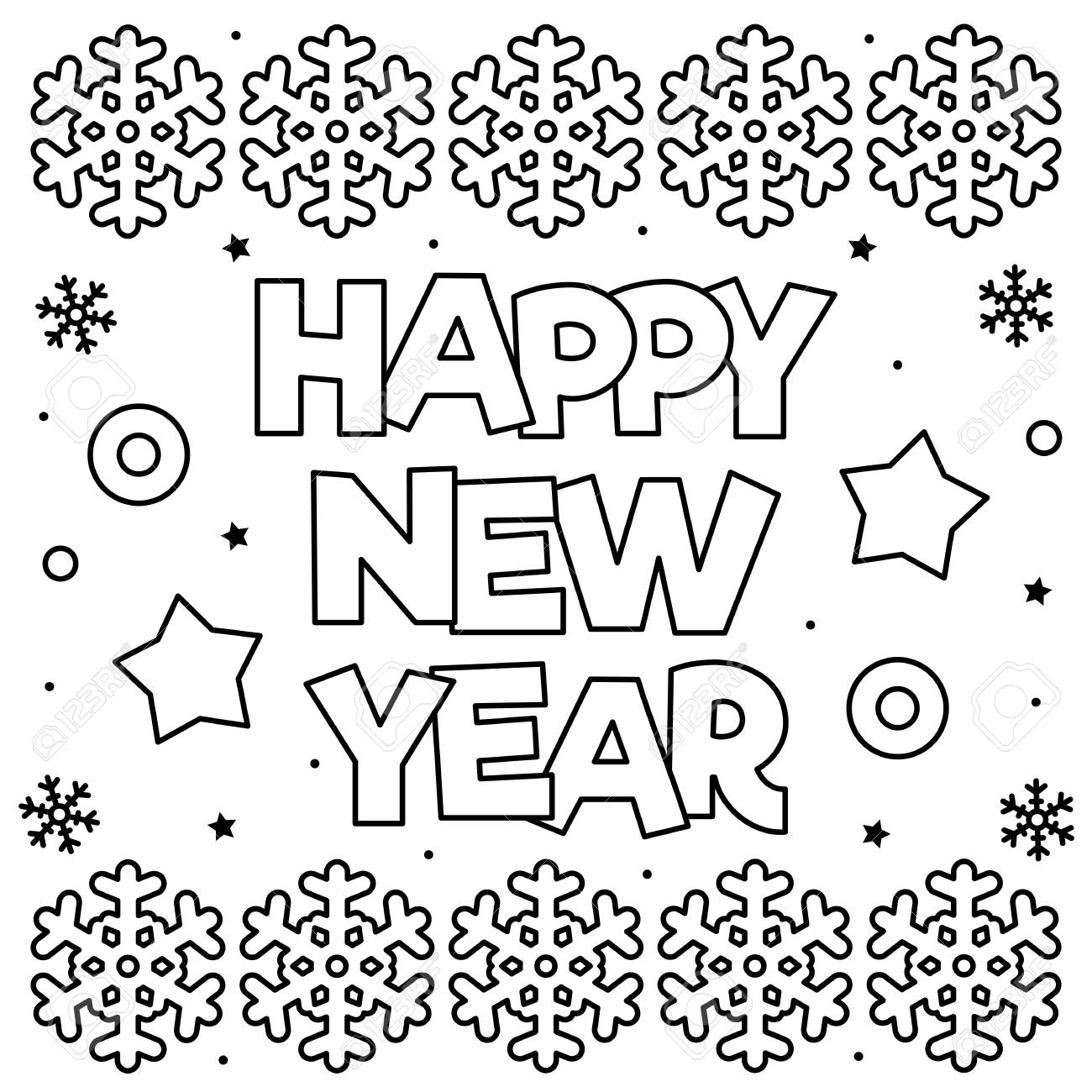 Happy New Year Coloring Page Black And White Vector Illustration Royalty Free Cliparts Vectors And Stock Illustration Image 111372782