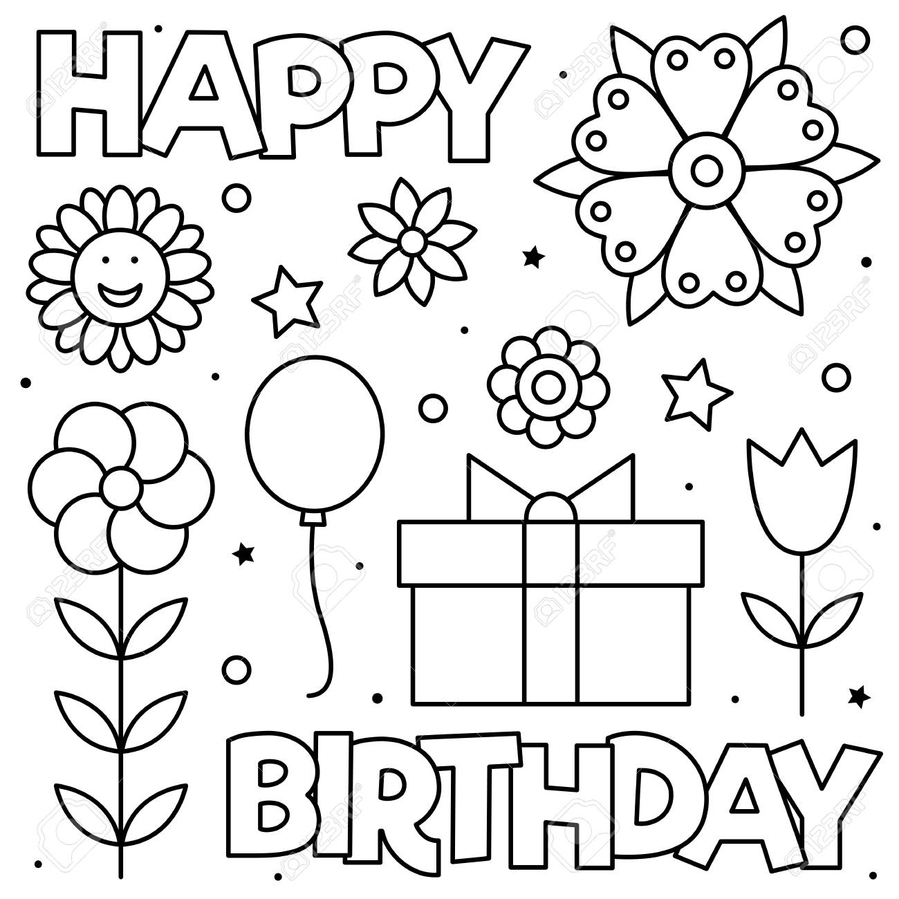 Happy Birthday Coloring Page Black And White Vector Illustration