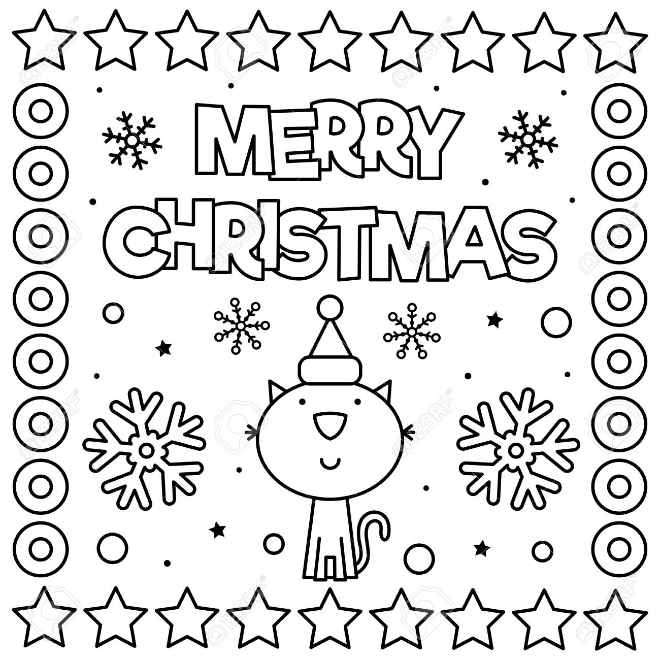 Merry Christmas Coloring Page Black And White Vector Illustration Royalty Free Cliparts Vectors And Stock Illustration Image 127434848