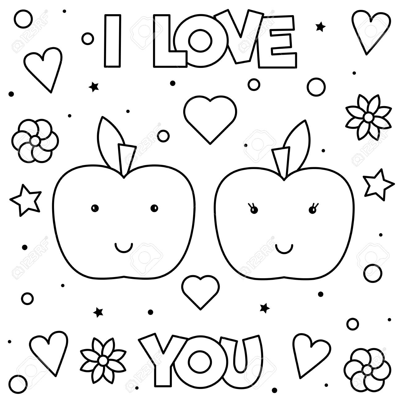 I Love You. Coloring page. Black and white vector illustration of apples. - 112857933