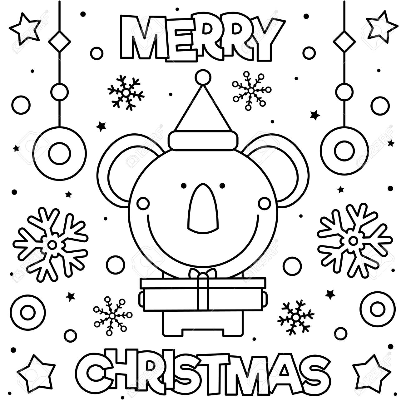 Merry Christmas. Coloring page. Black and white vector illustration..