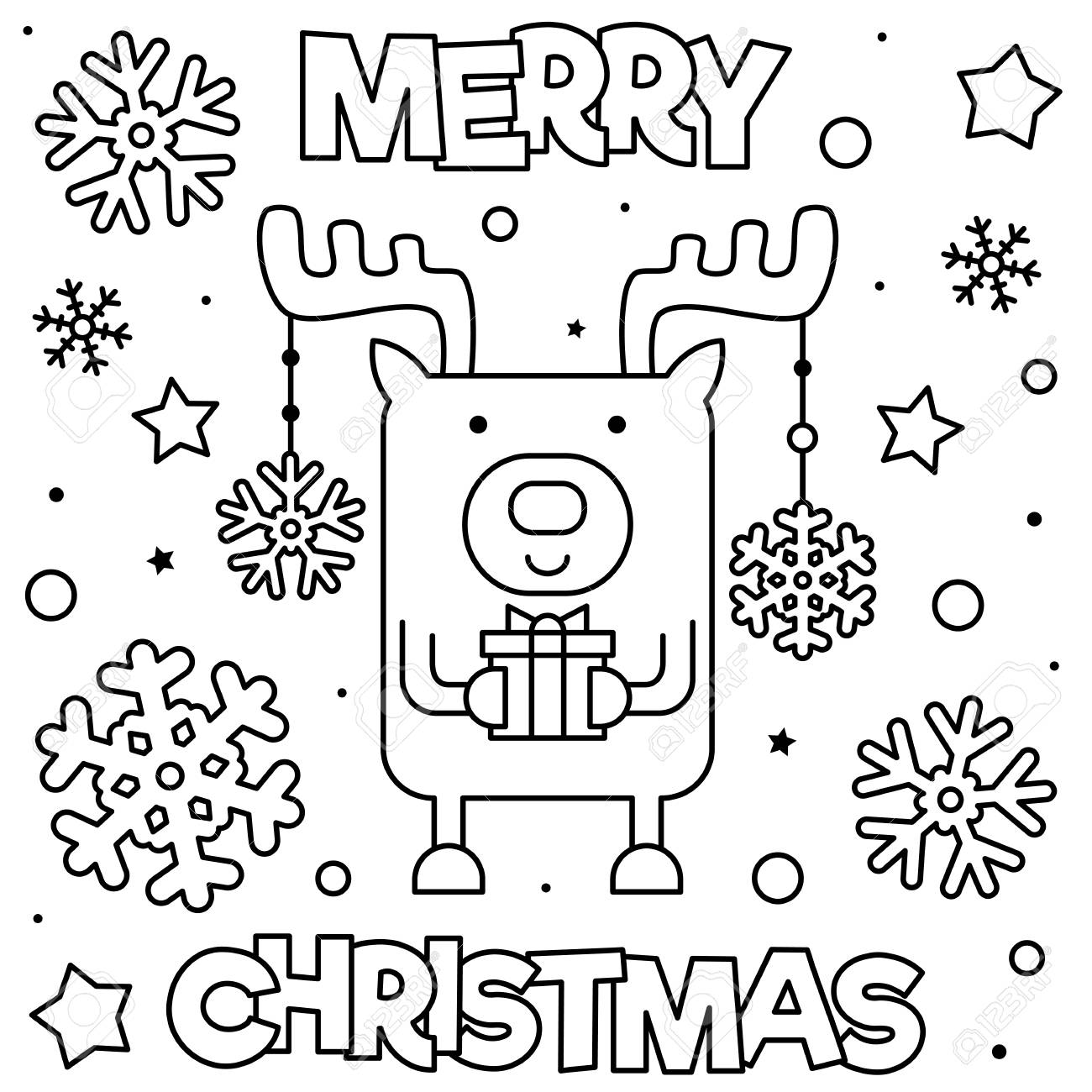 Merry Christmas. Coloring page. Black and white vector illustration