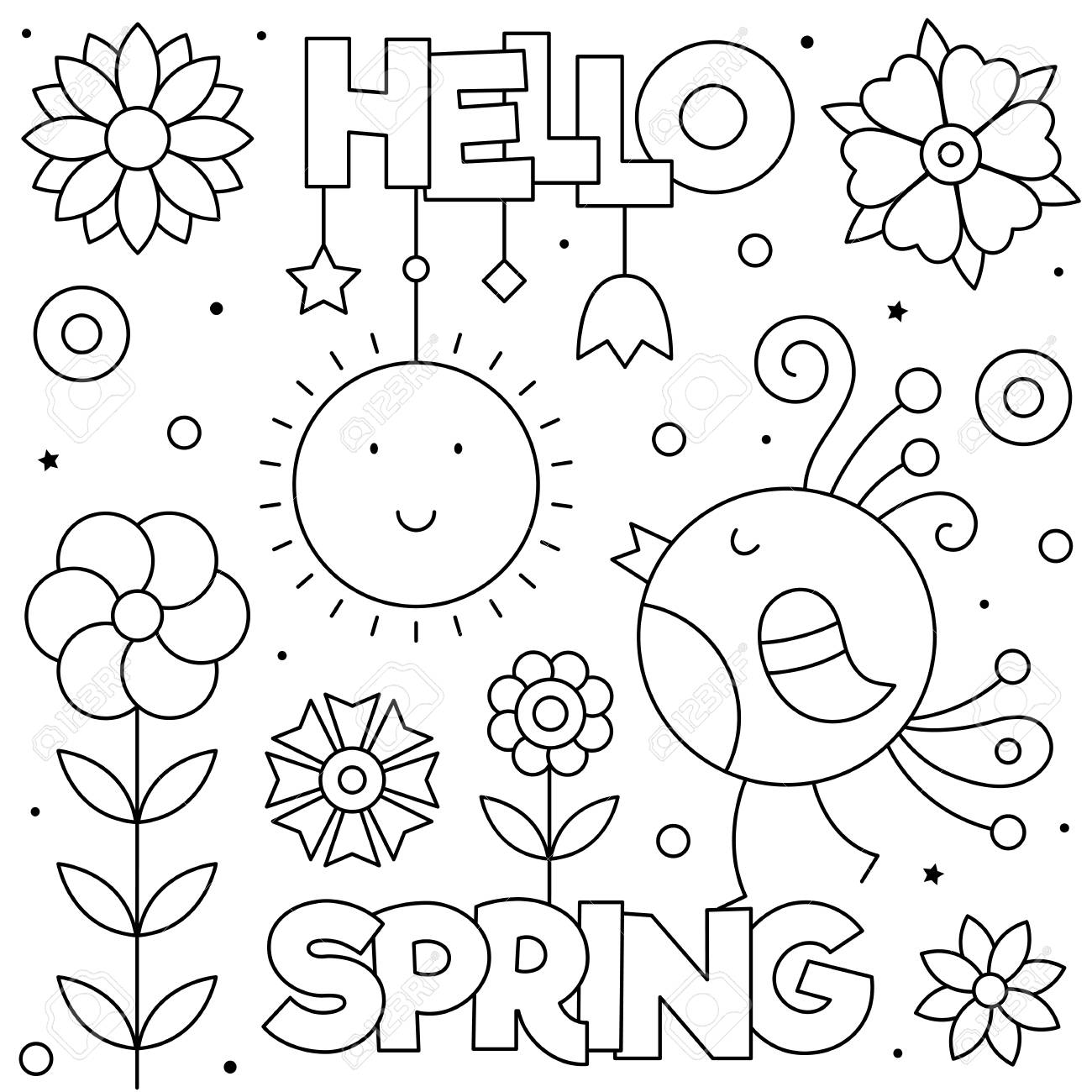 Hello Spring. Coloring page. Black and white vector illustration