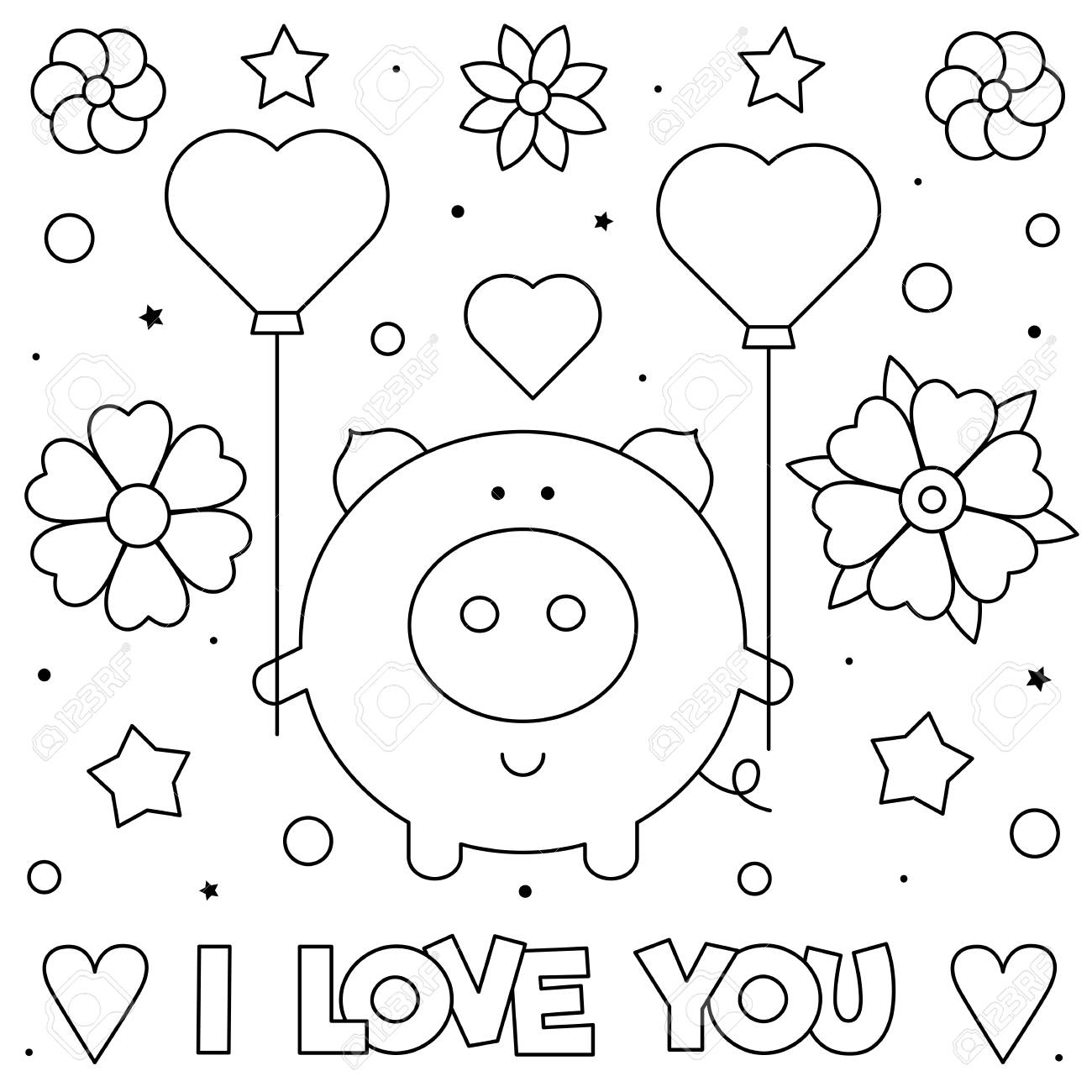 I Love You. Coloring page. Black and white vector illustration..