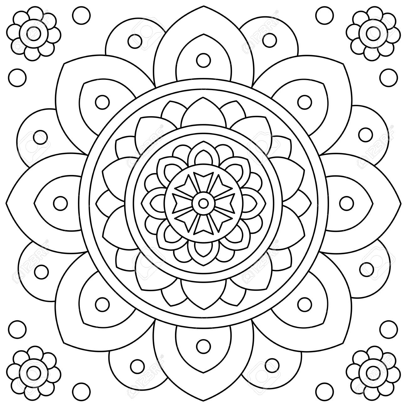 - Flower. Mandala. Coloring Page. Black And White Vector