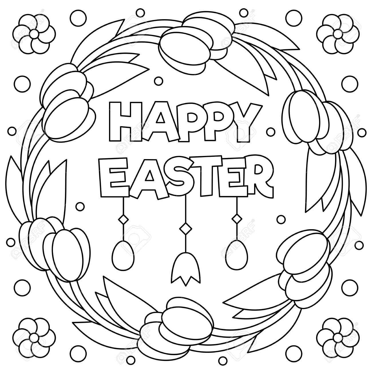 - Happy Easter. Coloring Page. Black And White Vector Illustration