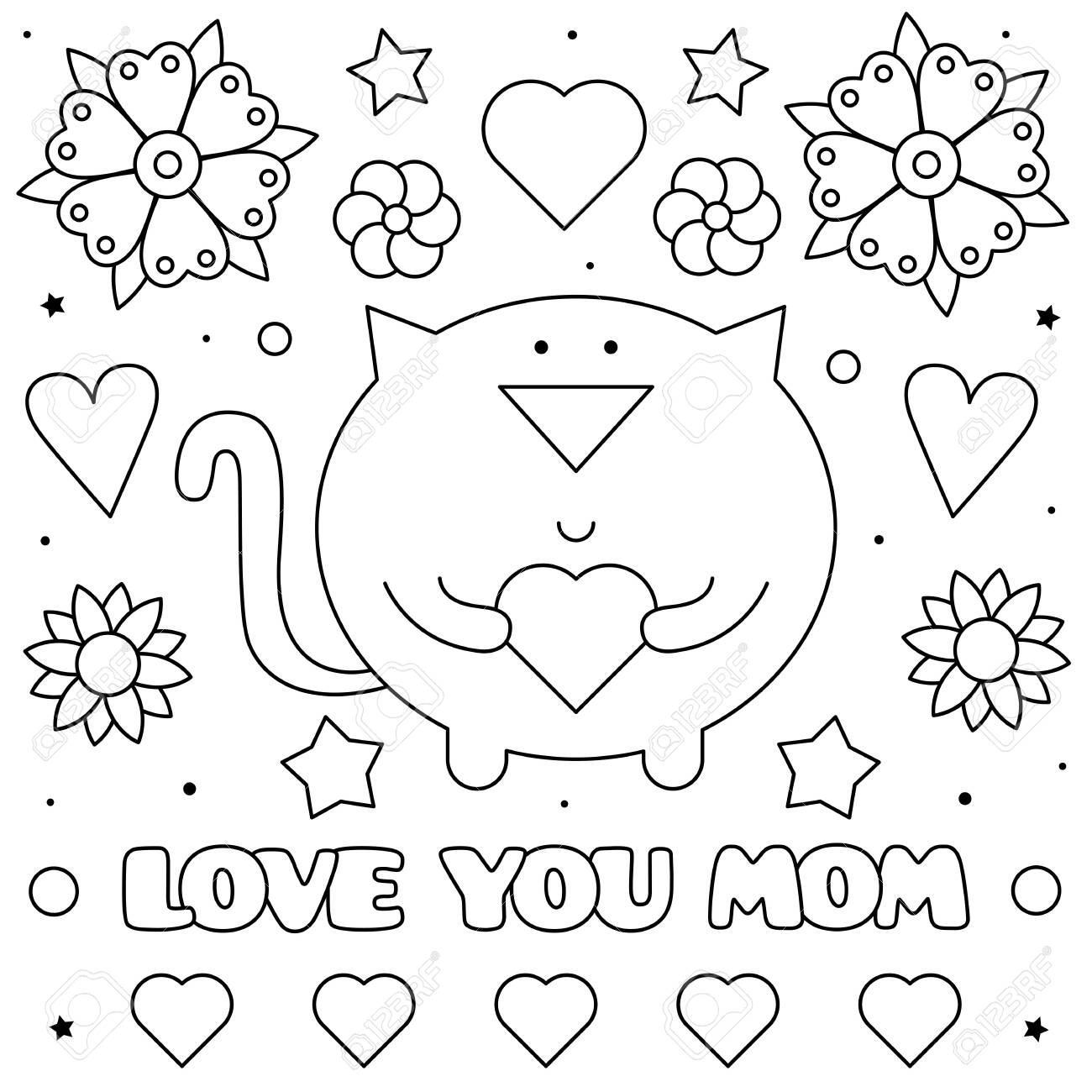 Love You Mom Coloring Page Black And White Vector Illustration Royalty Free Cliparts Vectors And Stock Illustration Image 124380748