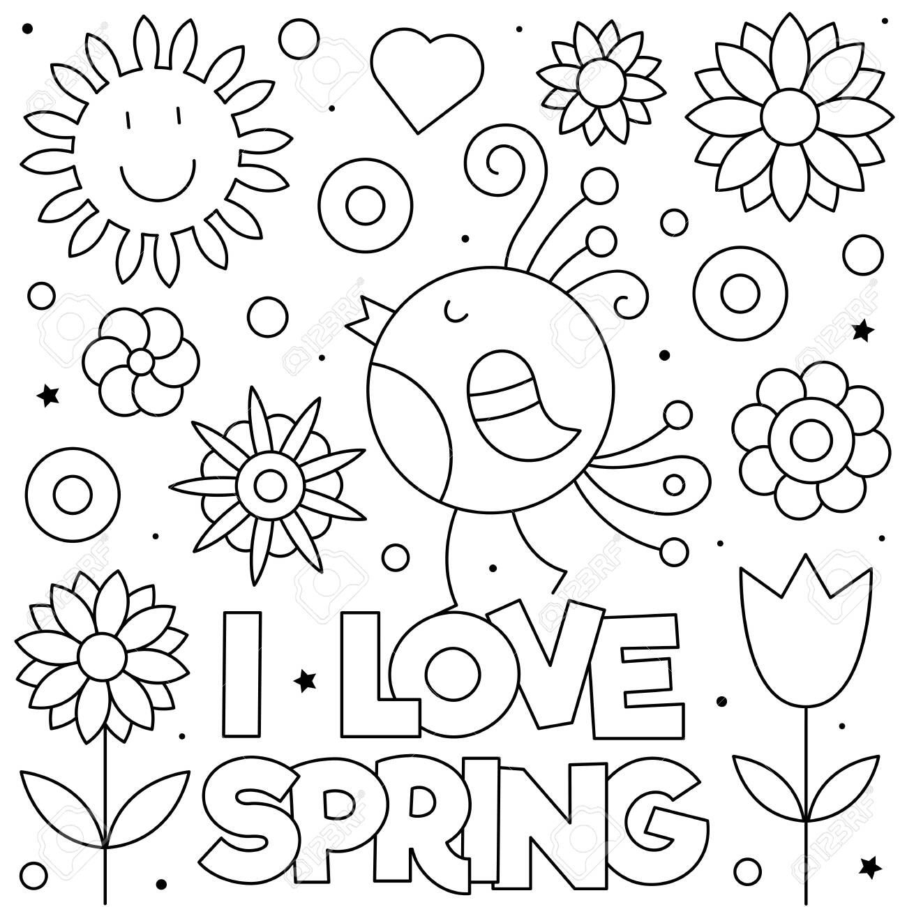 I love Spring. Coloring page. Black and white vector illustration
