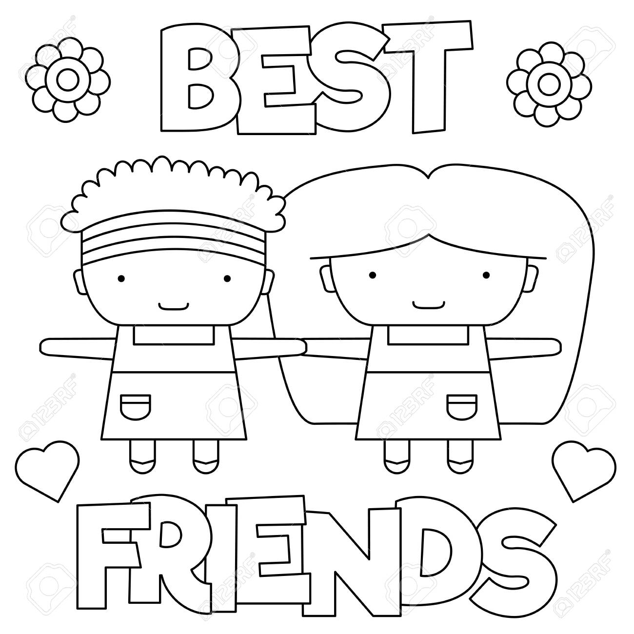 Best Friends Coloring Page Black And White Vector Illustration Royalty Free Cliparts Vectors And Stock Illustration Image 128075945
