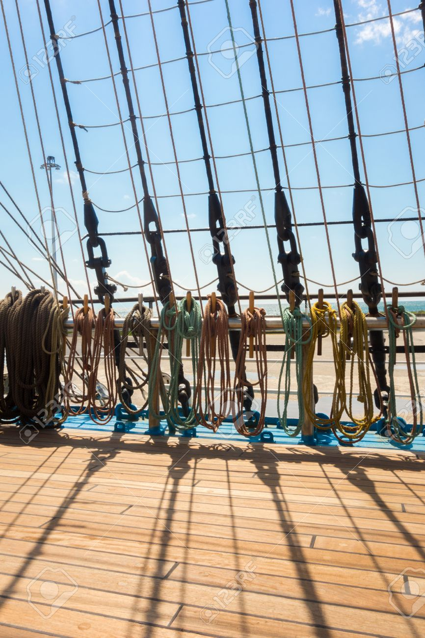 Marine rope ladder at pirate ship  Sea hemp ropes on the old