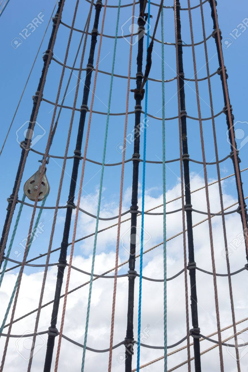 Marine Rope Ladder At Pirate Ship. Sea Hemp Ropes On The Old ... for Rope Ladder Ship  51ane