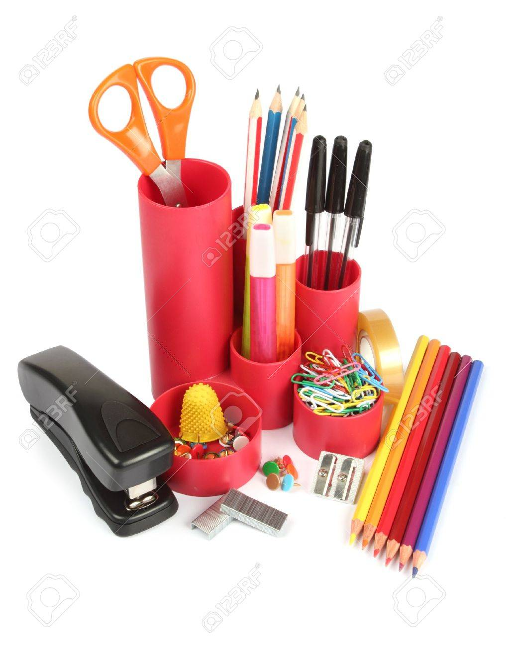 Assortment Of Office Stationery On A White Background Stock Photo ...