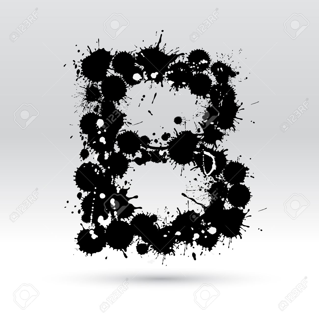 Letter B Formed By Black And White Ink Blots Royalty Free Cliparts