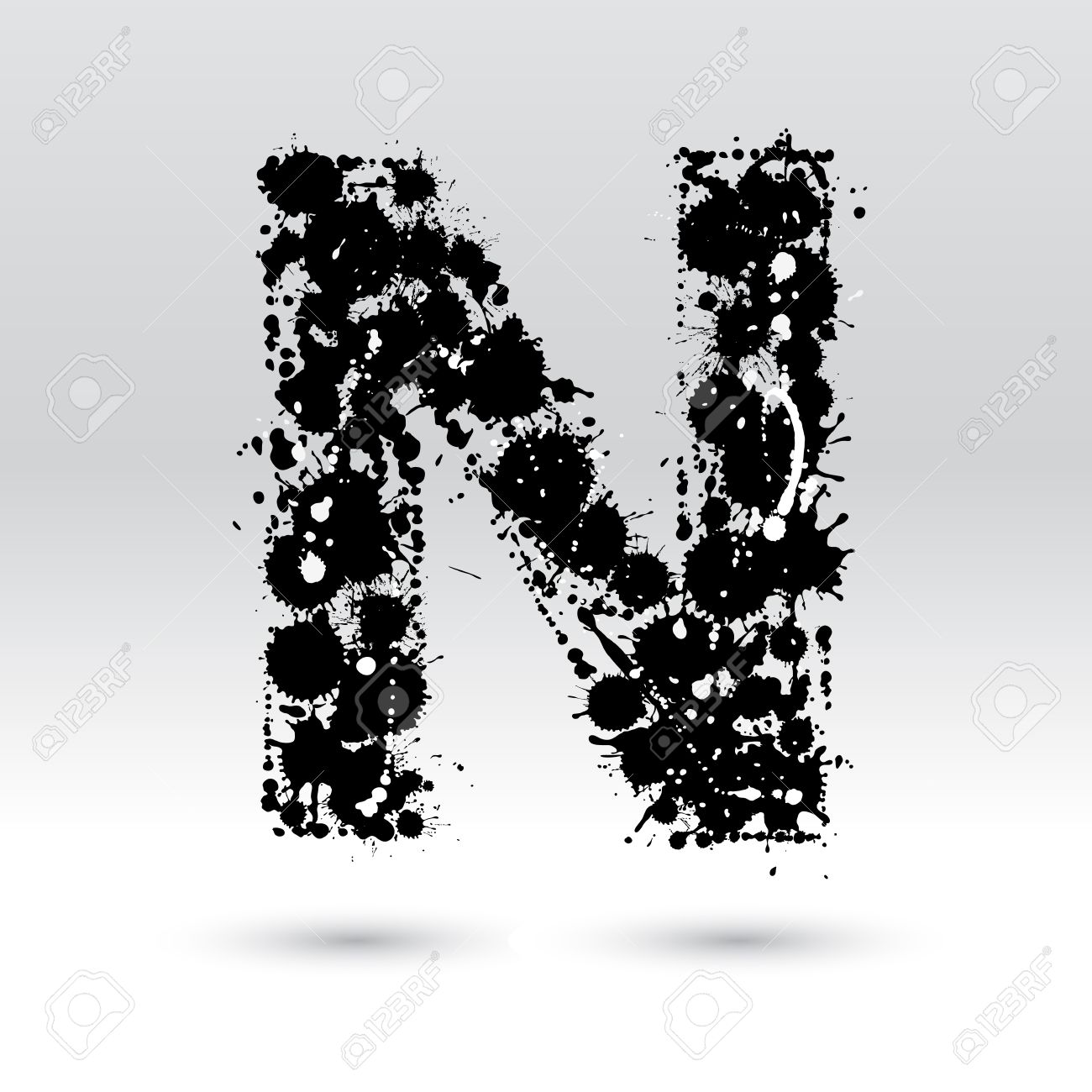 Letter N Formed By Black And White Ink Blots Royalty Free Cliparts
