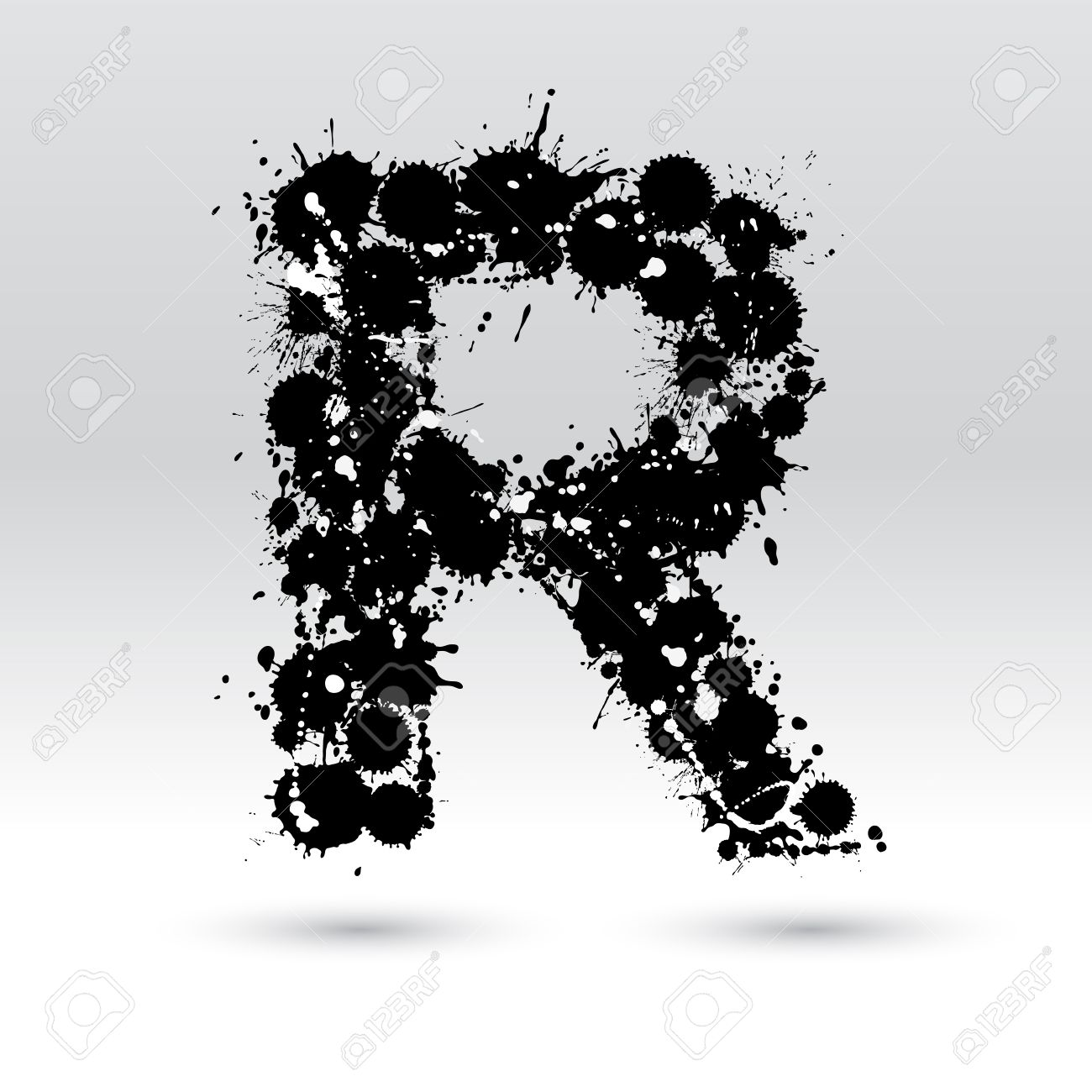 letter r formed by black and white ink blots royalty free cliparts