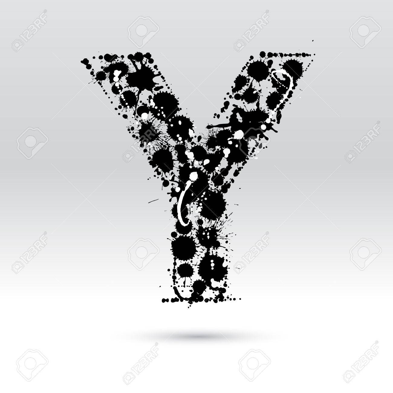 Letter Y Formed By Black And White Ink Blots Royalty Free Cliparts