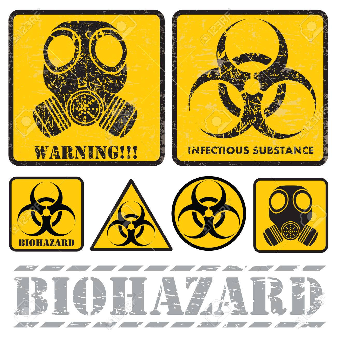 set of signs warning of biological hazards royalty free cliparts