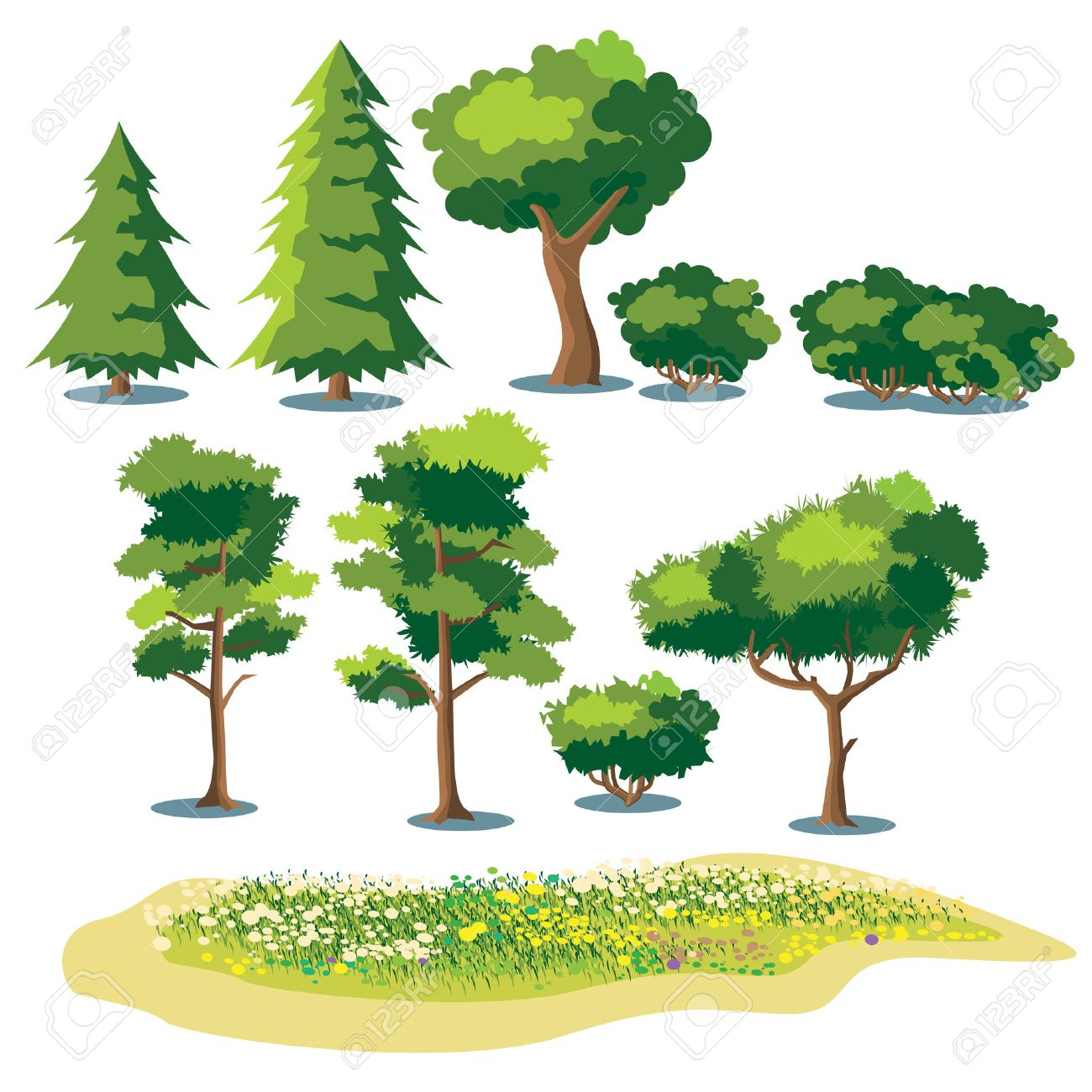 set of stylized vector plants. shrubs, trees and fields with grass and blooming flowers - 43678927