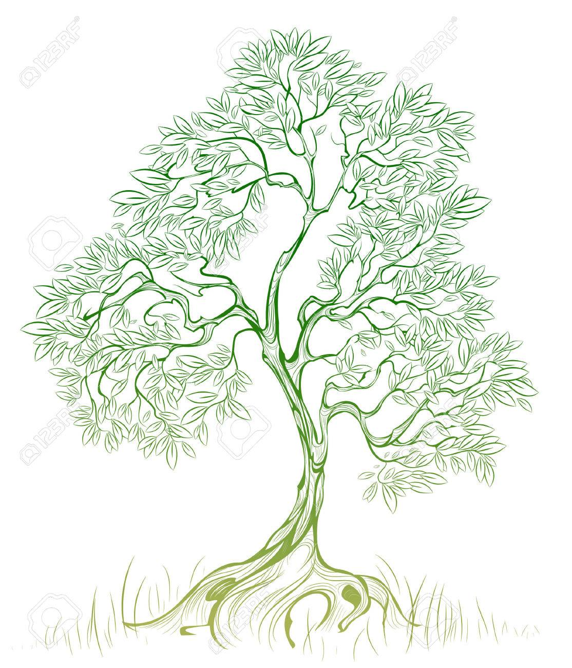 green, artistic tree on a white background Stock Vector - 23284526