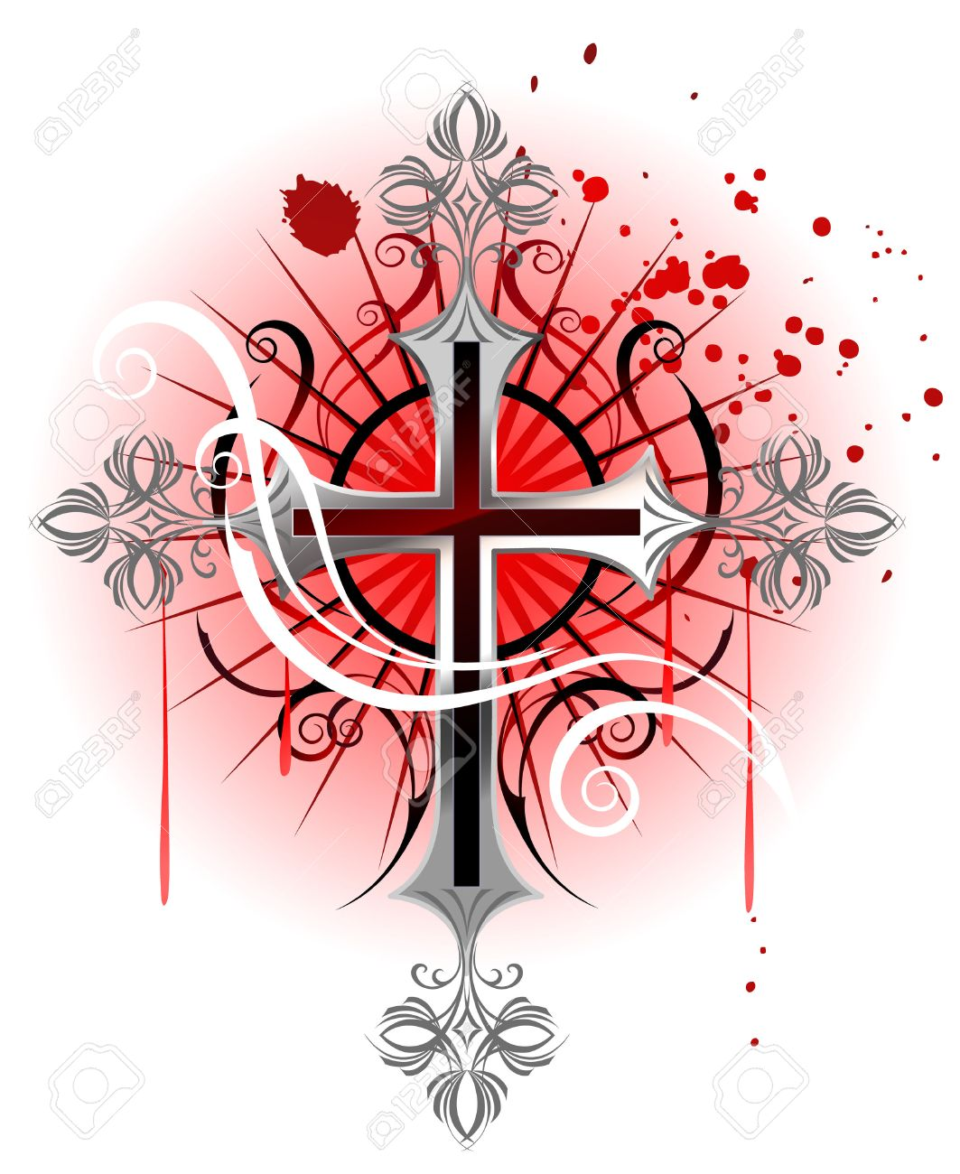jeweler, Gothic cross from silver, on the white background, soiled with red paint. Stock Vector - 23506107