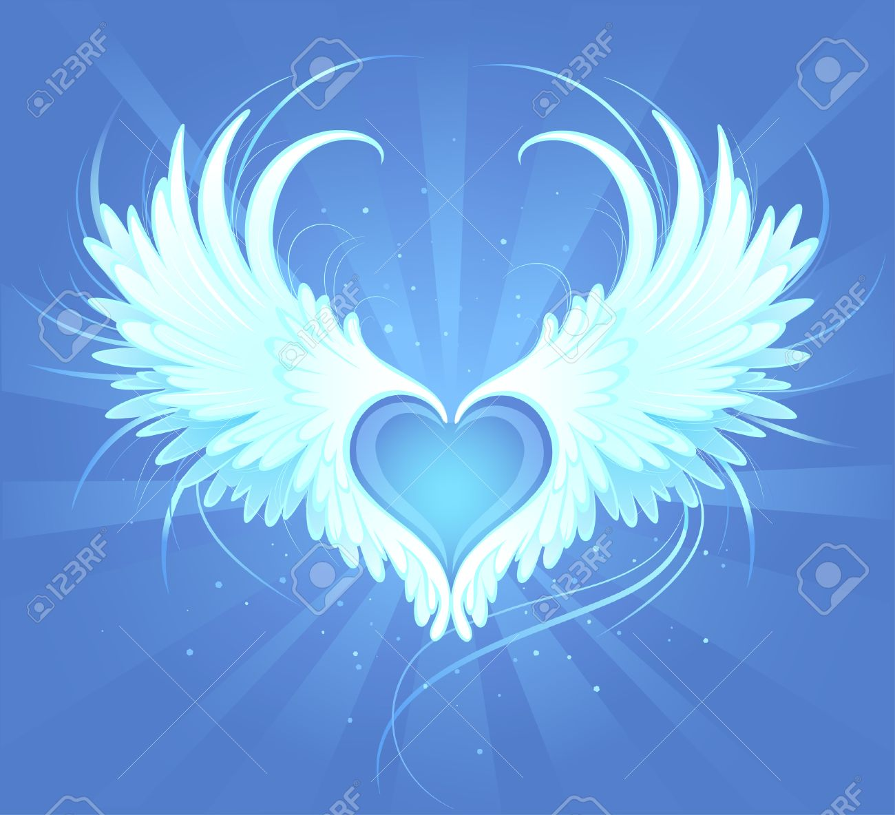 Blue heart of an angel with painted art, beautiful white wings on a blue background radiant Stock Vector - 23506285