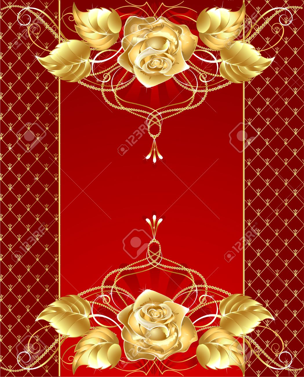 Red Background With Gold Jewelry Rose Brilliant And Delicate