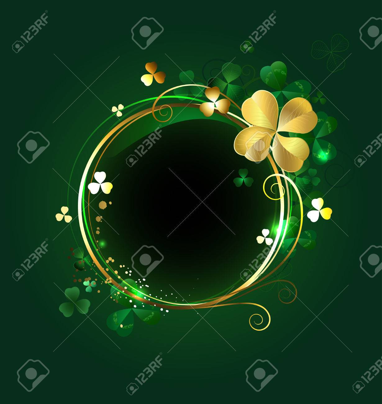 round golden banner with shamrocks and clover with four leaves on a green background - 25245655