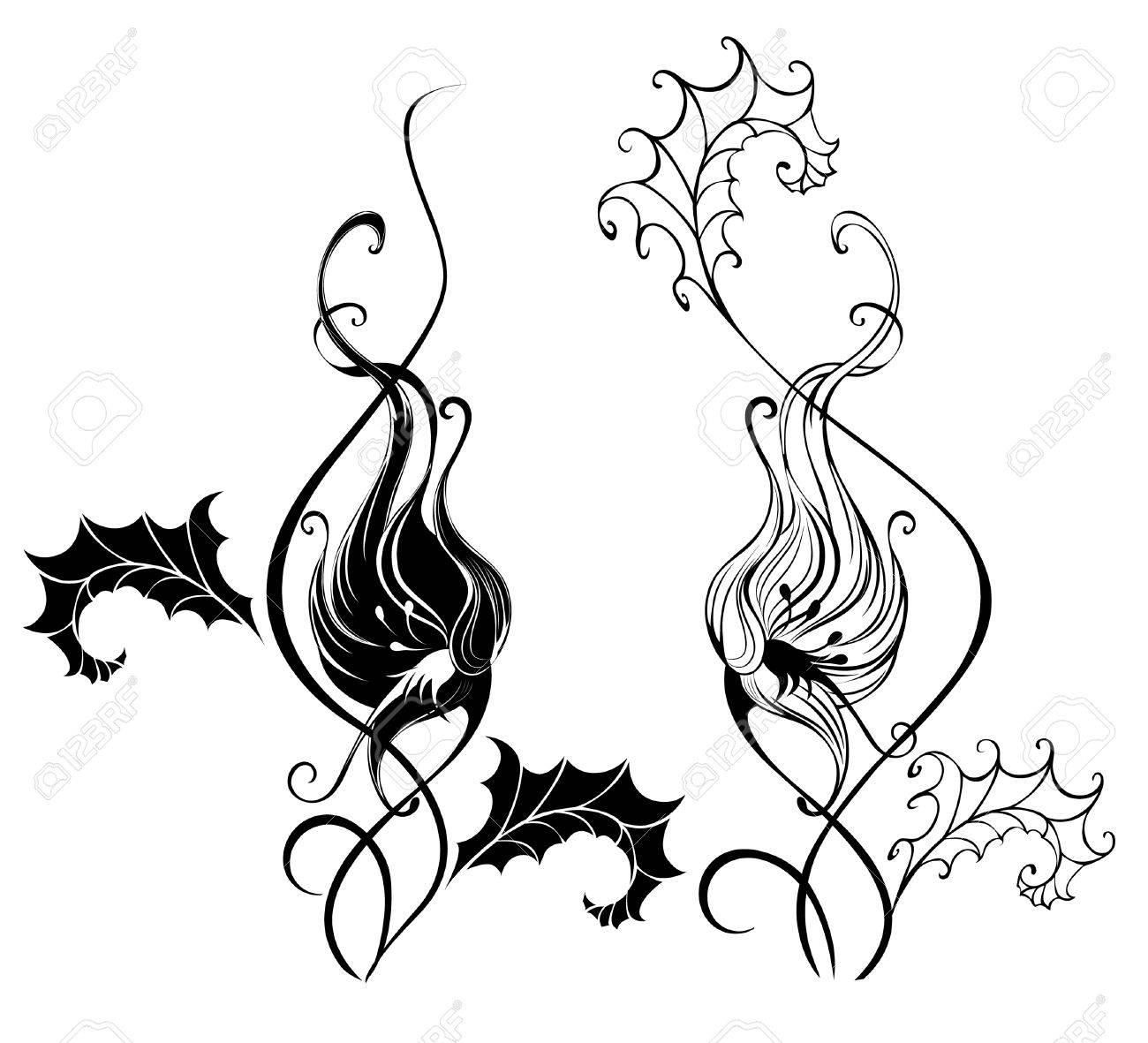 Negro Silueta De Dos Enredadera Artísticamente Pintado Fondo Blanco