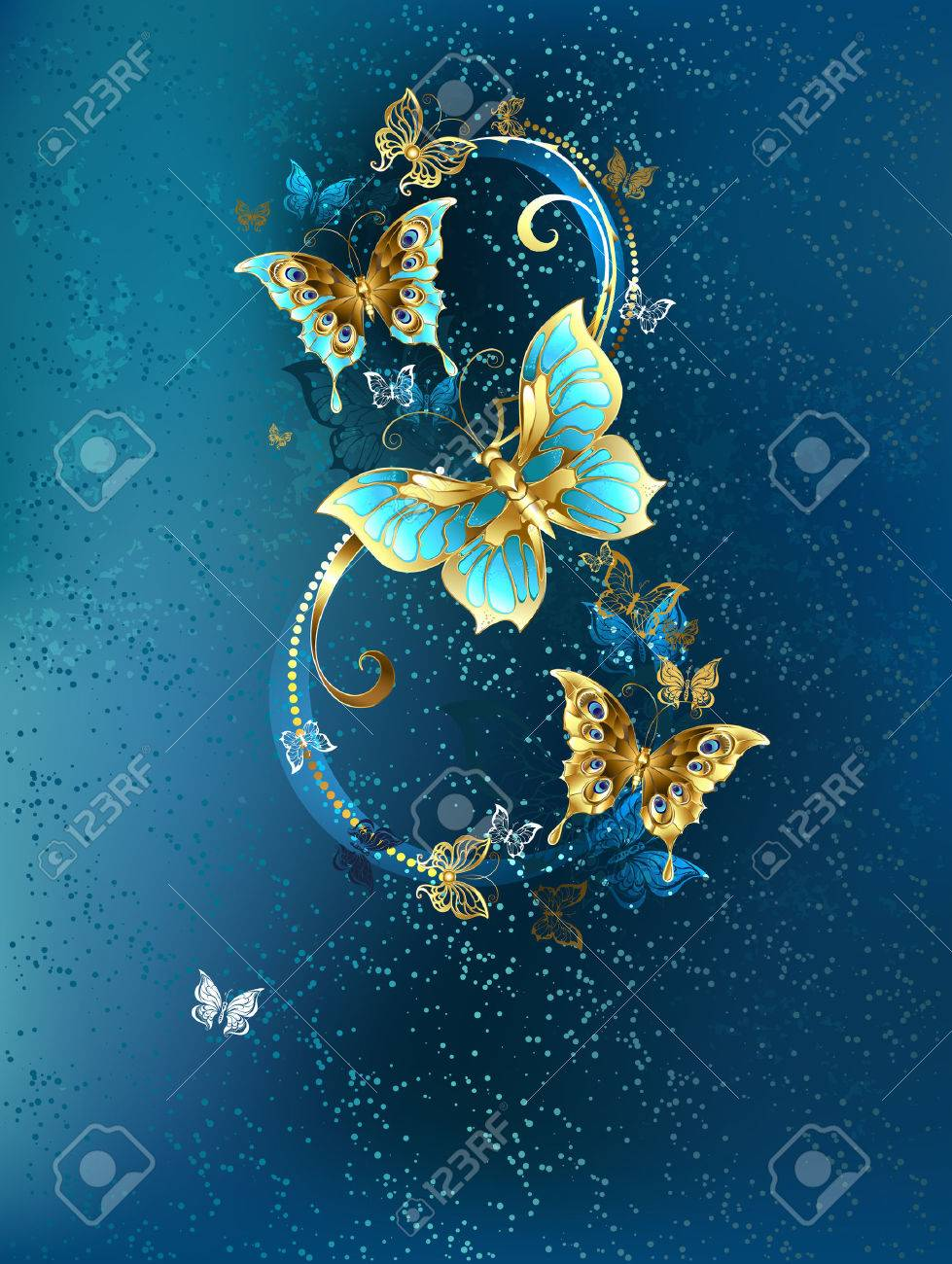 Eight of the luxury, jewelery butterflies on blue textural background. - 50644277
