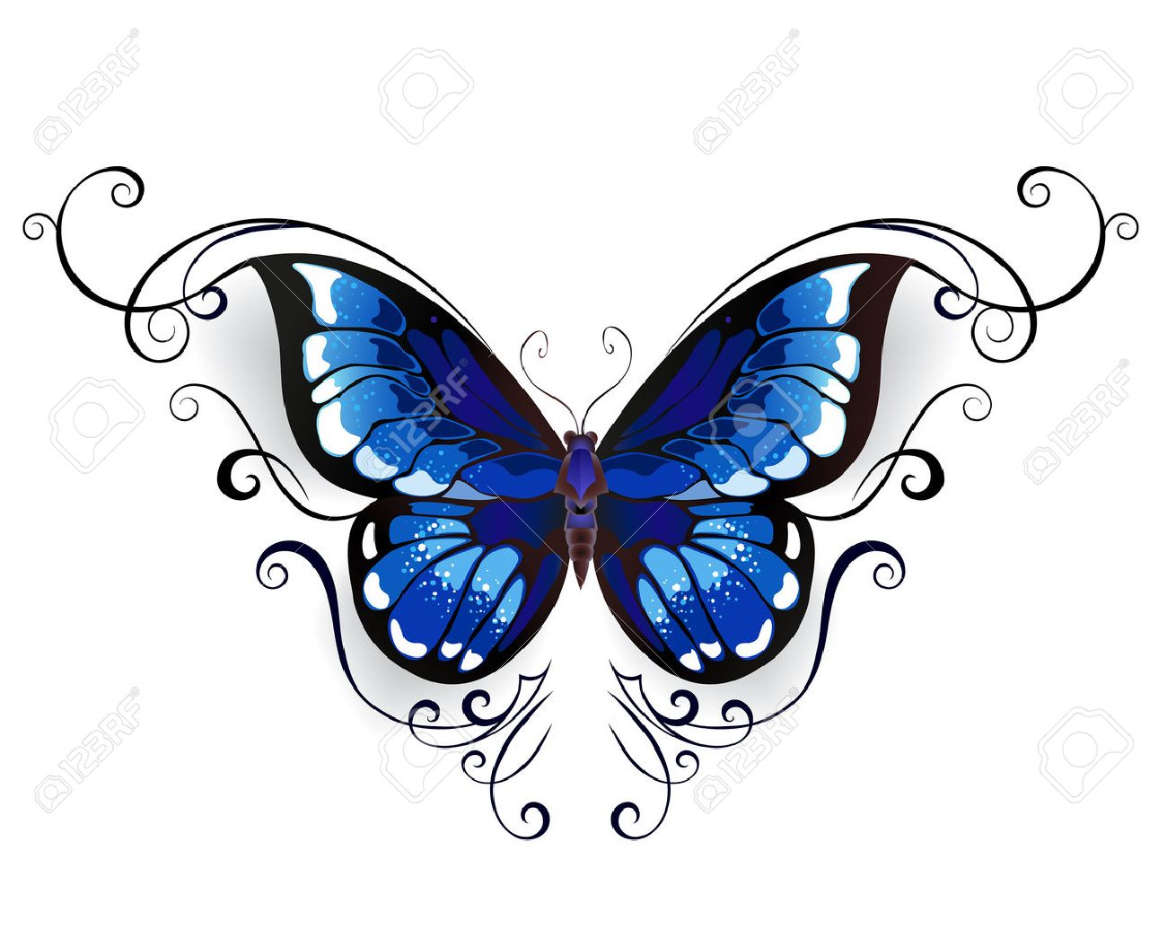 Tatouage Papillon Bleu Decore Avec Un Motif Elegant Sur Un Fond