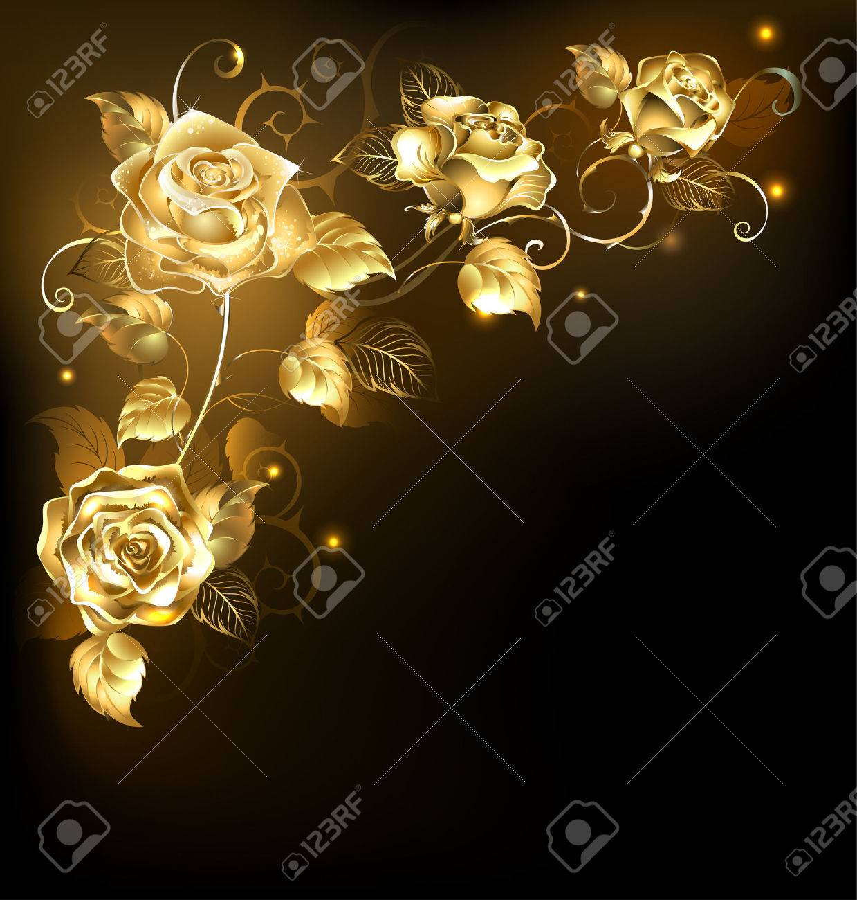 Twisted Gold Roses On A Black Background Gold Rose Royalty Free Cliparts Vectors And Stock Illustration Image 53171319