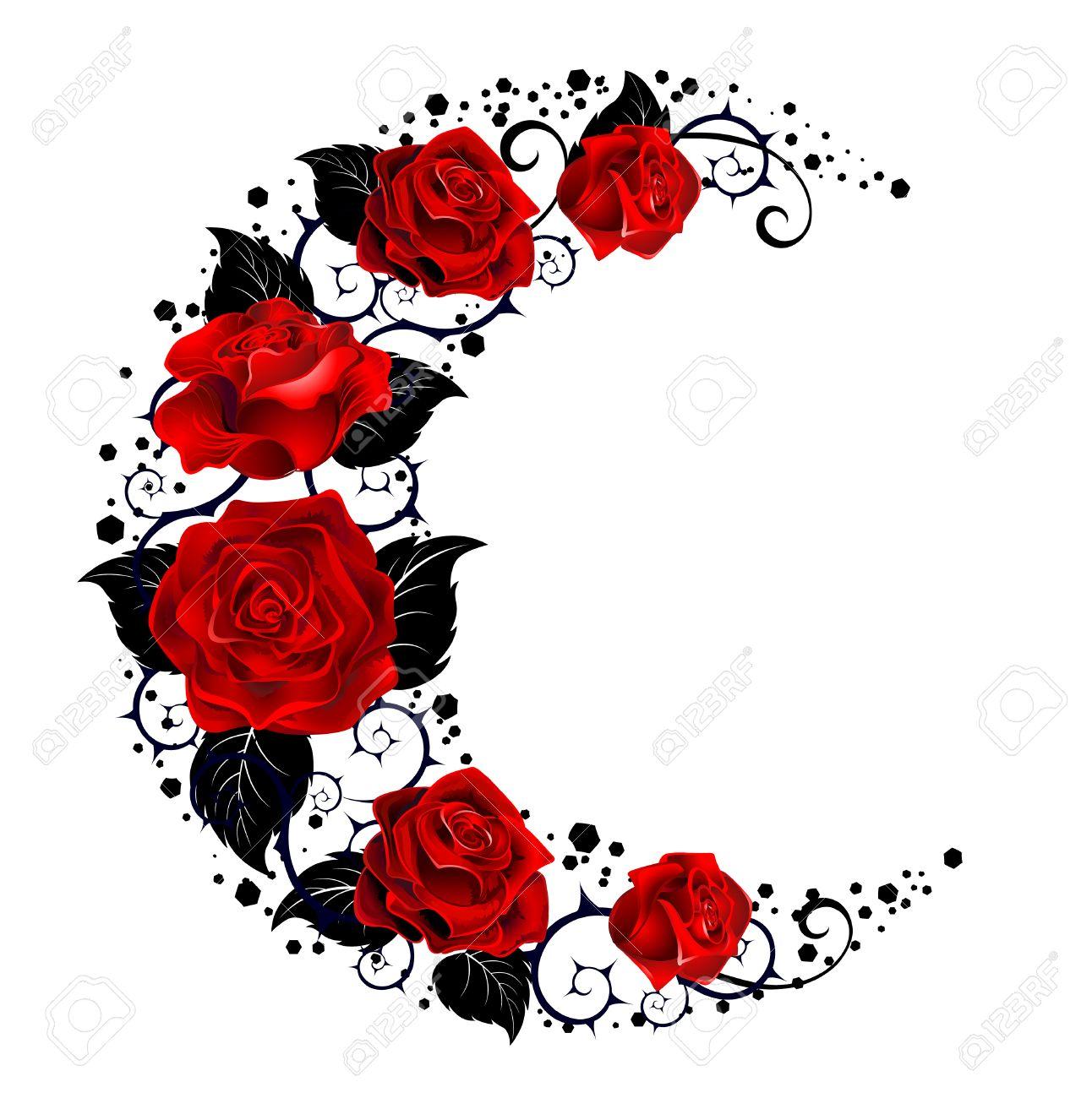 Mística Luna Negro Pintado Tallos Y Rosas Rojas Sobre Un Fondo