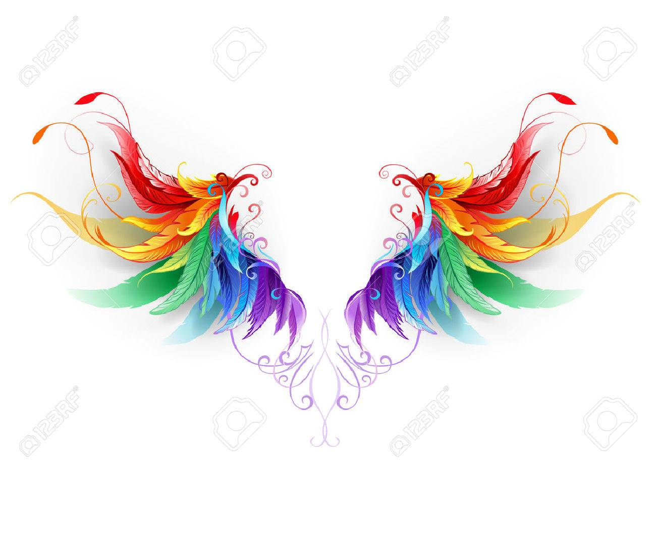 fluffy rainbow wings on a white background. - 53171323