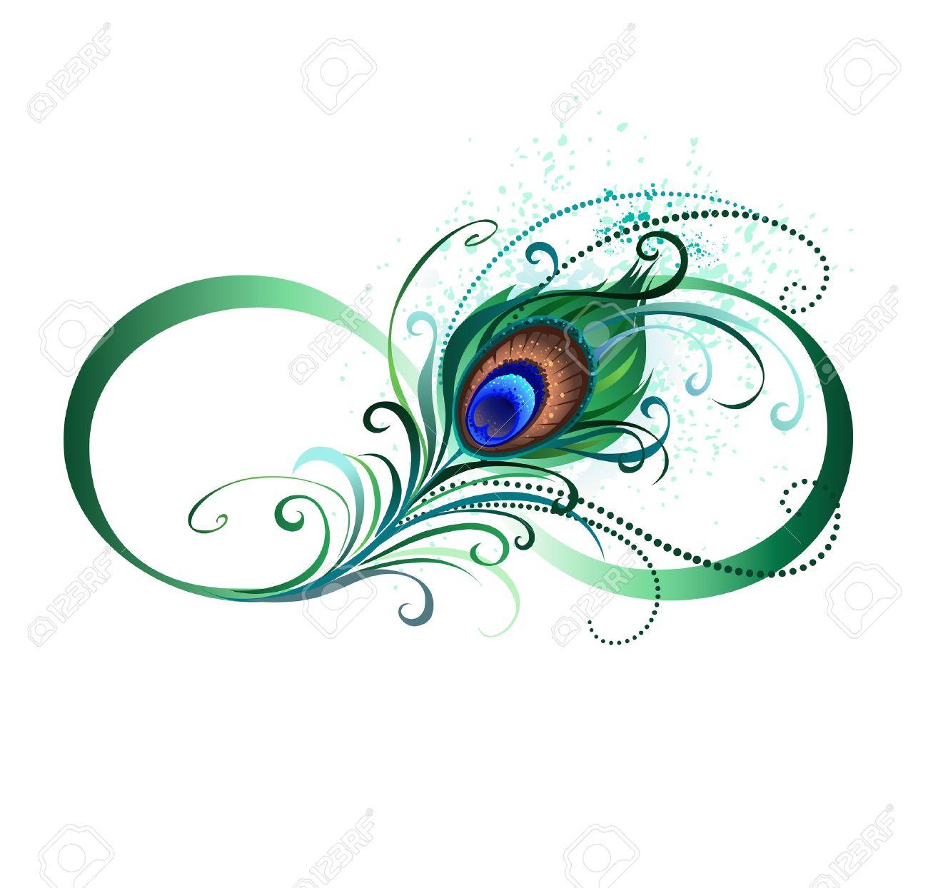 El Símbolo Del Infinito Con Un Brillante Verde Plumas De Pavo Real
