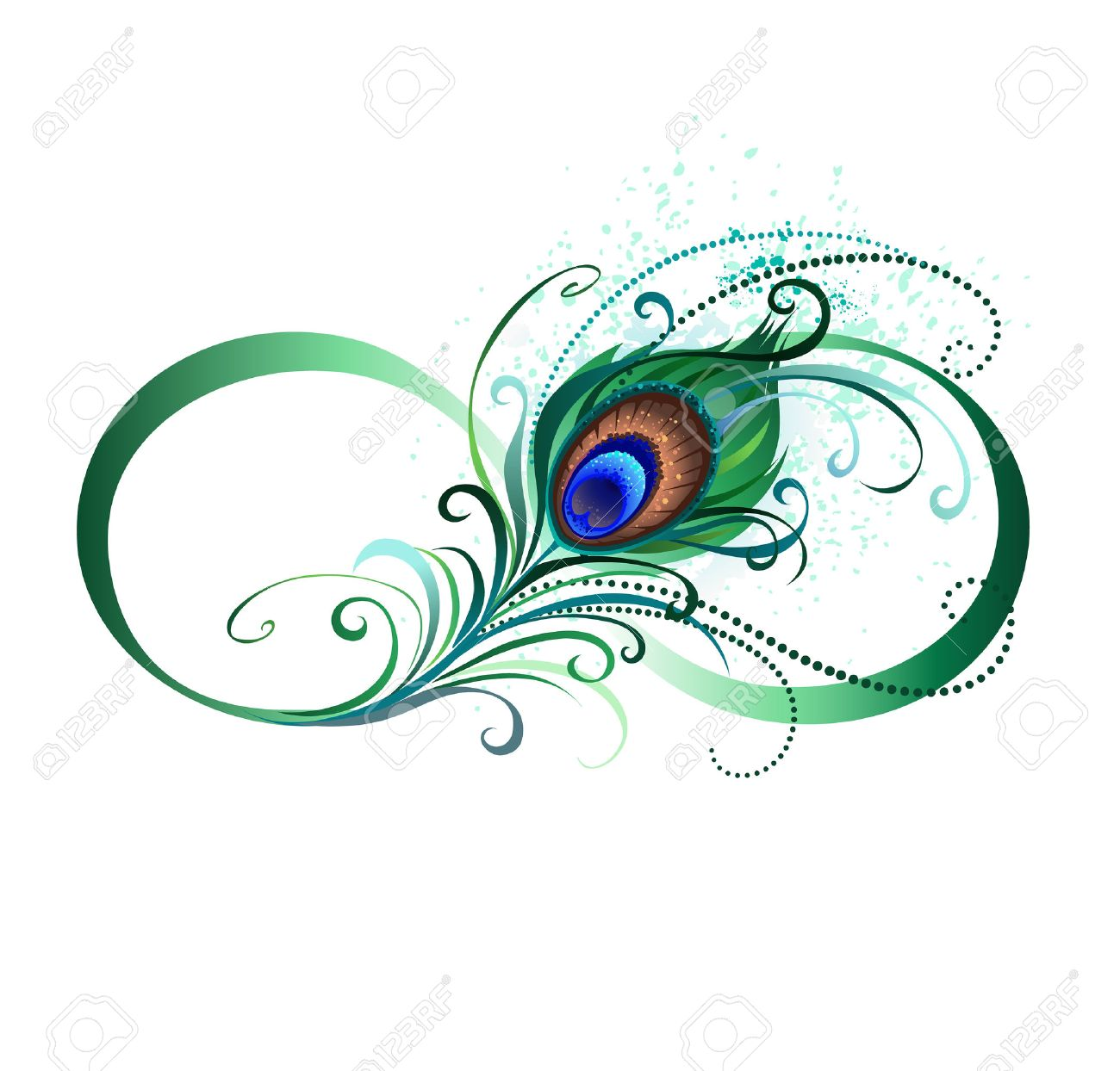 The symbol of infinity with a bright green artistic peacock the symbol of infinity with a bright green artistic peacock feather on a white biocorpaavc Gallery