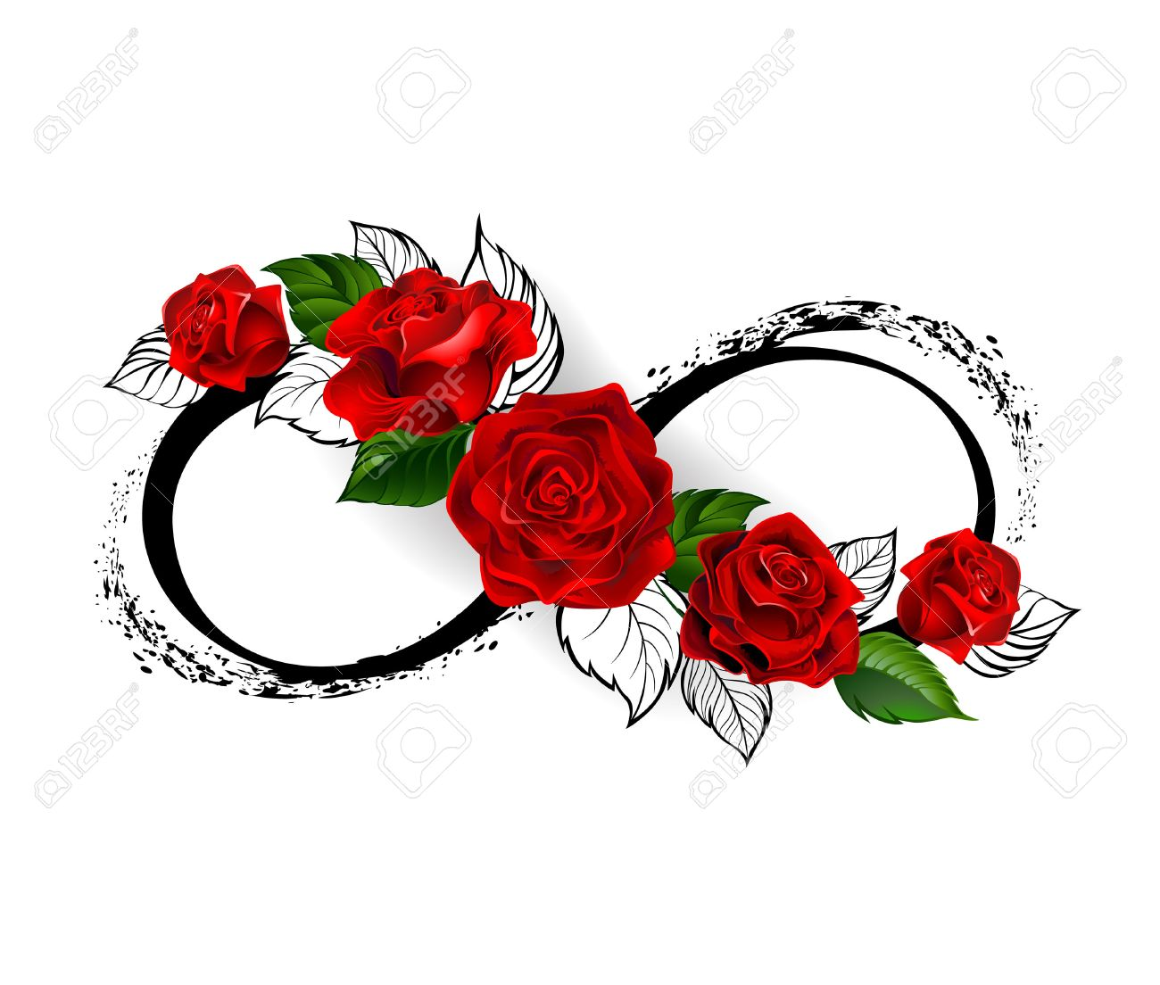 infinity symbol with red roses and black stalks on a white background. Design with roses. Tattoo style. Gothic style. Tribal graphics. Style sketch. - 58393287