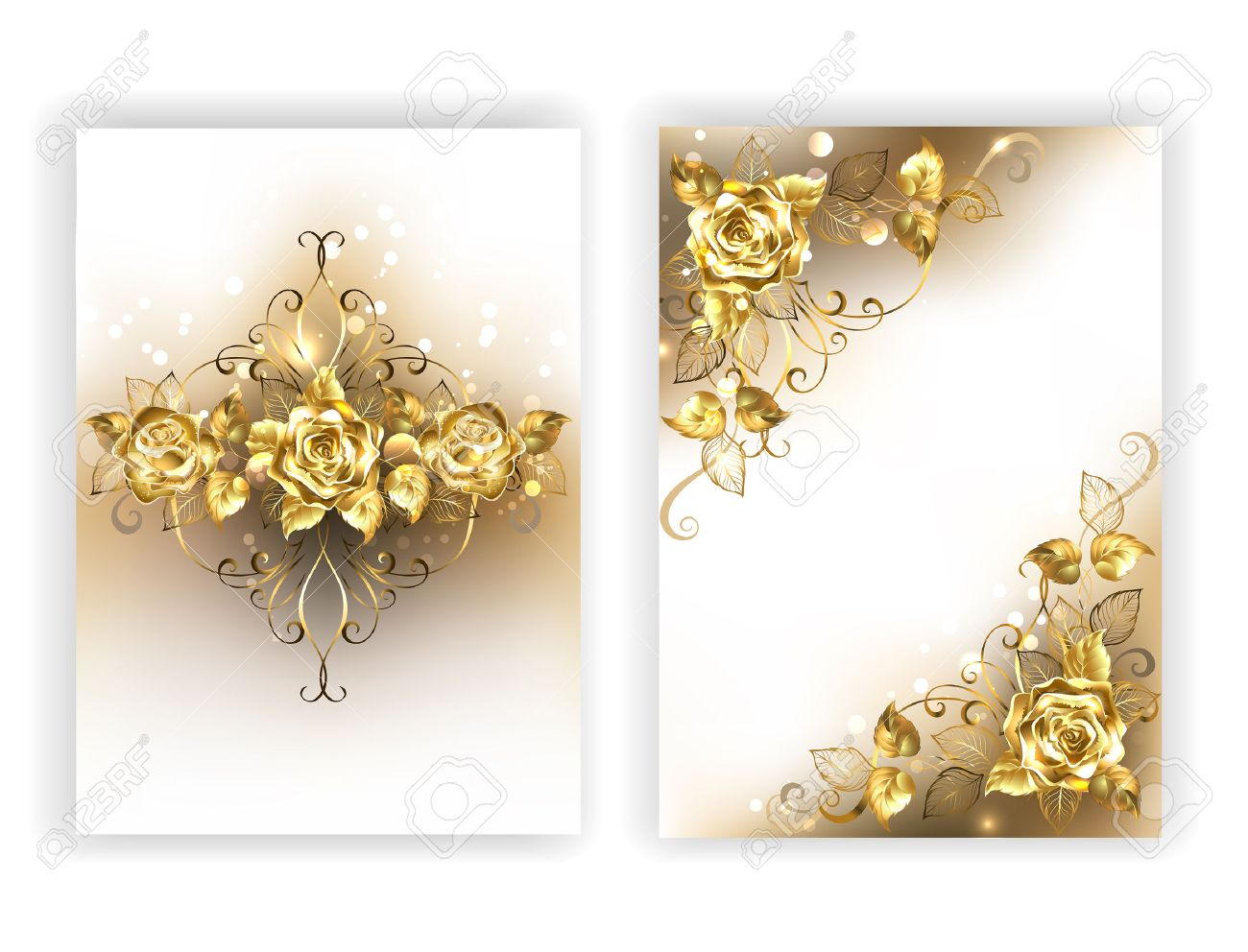Design Of Glittering Jewelry Gold Roses On A White Background