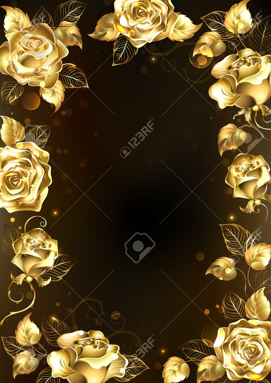 Frame With Sparkling Jewelry Gold Roses On A Black Background