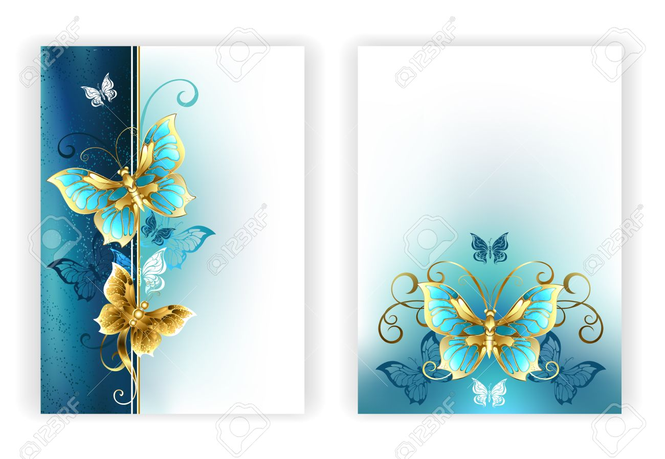 Entwurf Für Die Broschüre Mit Luxus, Schmuck, Gold Schmetterlinge ...